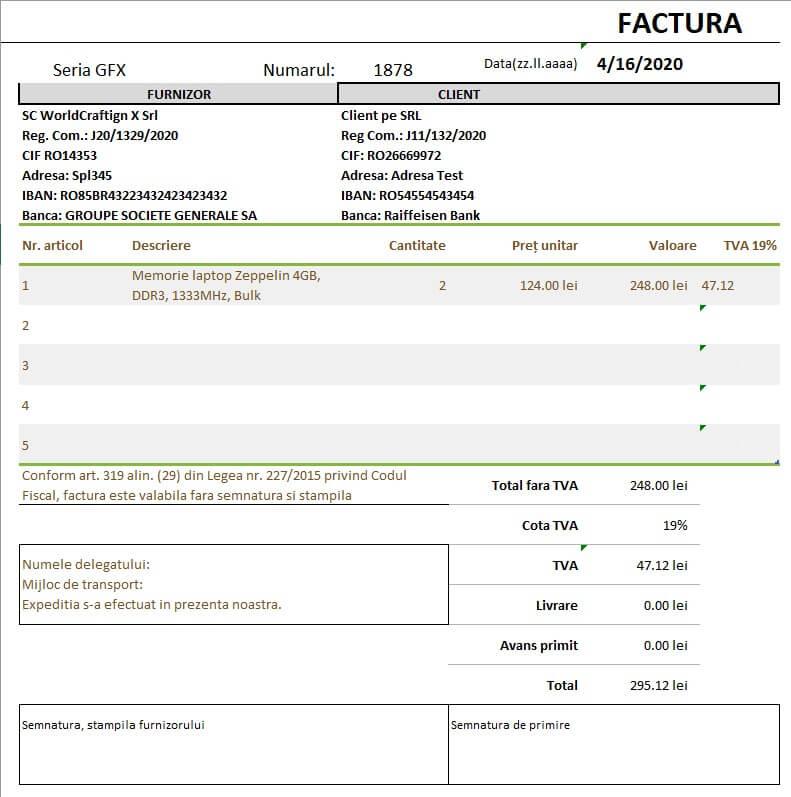 Program Factura Europeana Excel cu formule